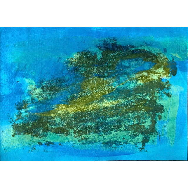 """Original 1980s Gouache Painting """"Blue Green Pt. 5"""" For Sale In New York - Image 6 of 6"""
