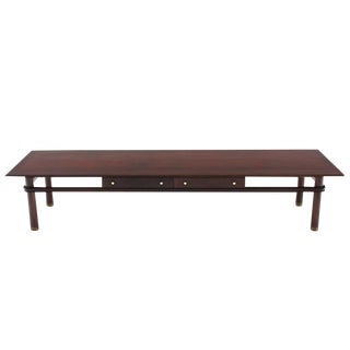 Long Mid-Century Modern Walnut Coffee Table with Two Drawers For Sale