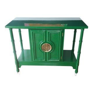Hollywood Regency Lacquered Green Faux Bamboo Bar Cart For Sale