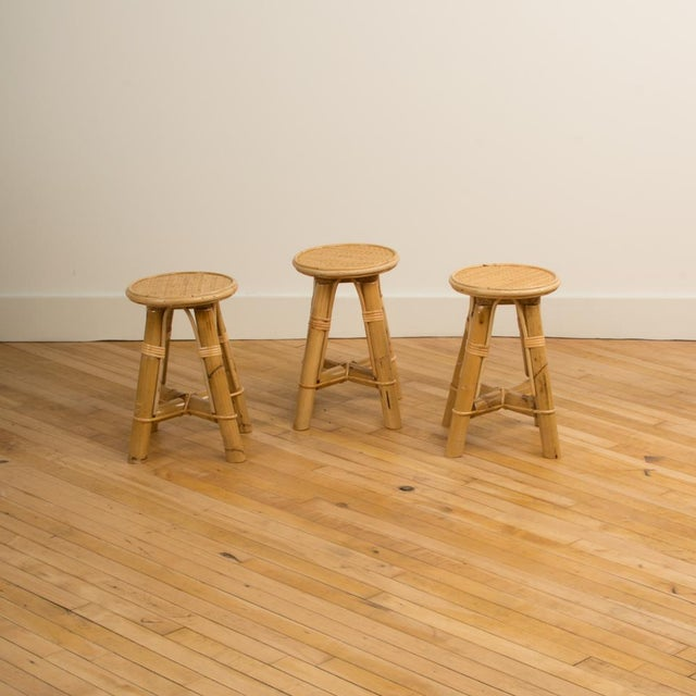 Wood Modern Bamboo and Rattan Stool For Sale - Image 7 of 10