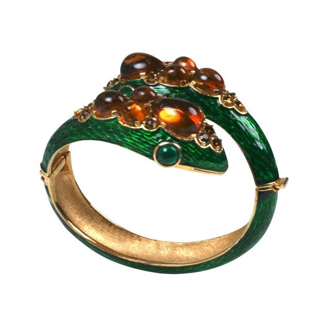 Trifari Jeweled Snake Bangle For Sale