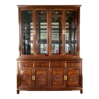 Japanese Redwood Chinoiserie China Cabinet For Sale