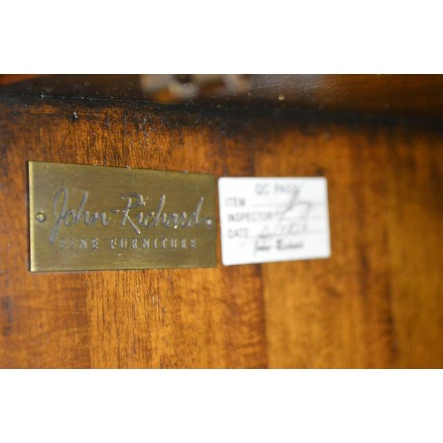 Animal Skin John Richards Regency Style Mahogany Leather Wrapped Console Cabinet For Sale - Image 7 of 12