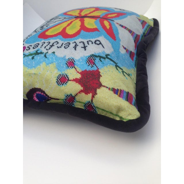 2010s Butterfly Garden Pillow For Sale - Image 5 of 7