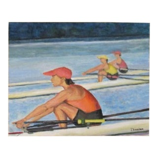 Original Painting Fine Art Rowing River Scene 20 X 25 Signed