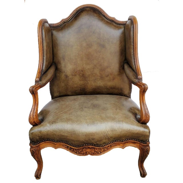 Wood French Bergere a Les Orvilles in Louis XIV Style For Sale - Image 7 of 7
