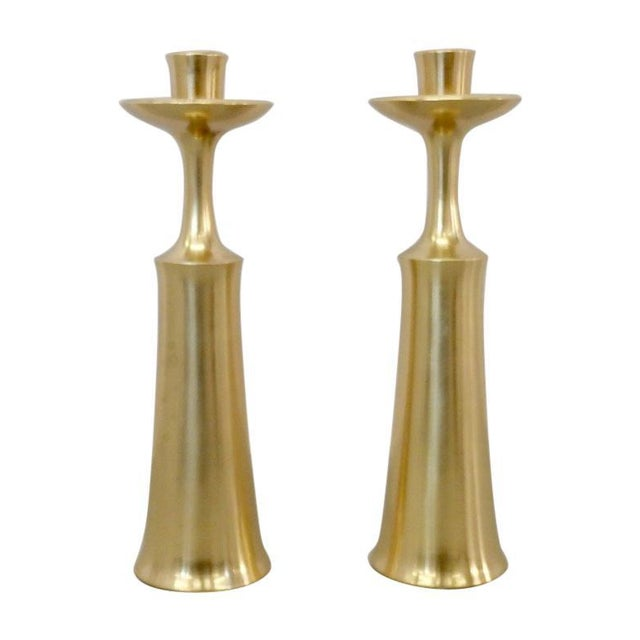 JHQ Dansk Denmark Solid Brass Candle Sticks - a Pair For Sale In Detroit - Image 6 of 6
