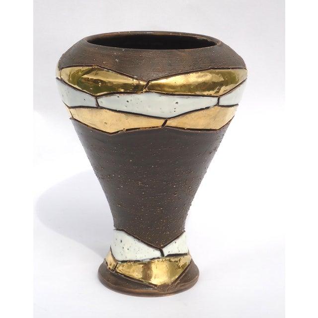 Mid-Century German Brown Pottery Vase - Image 3 of 7