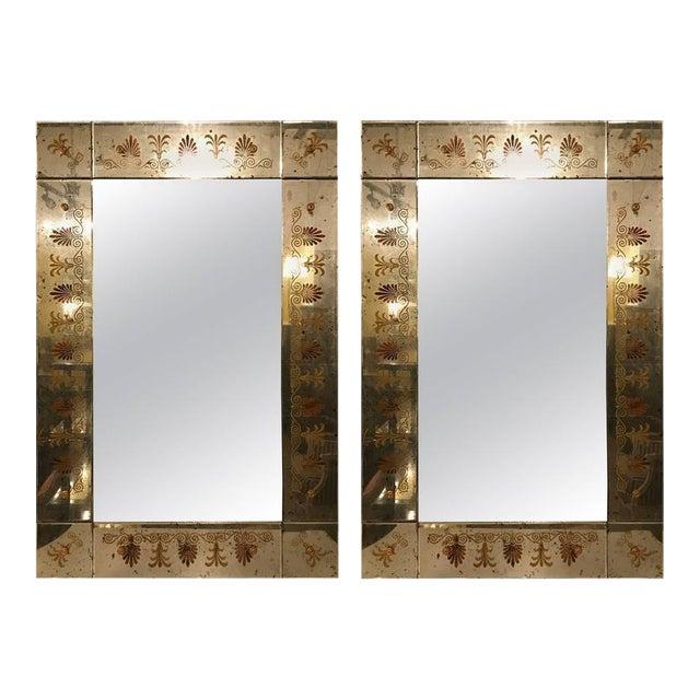 Hollywood Regency Églomiséd Framed Mirrors - A Pair For Sale