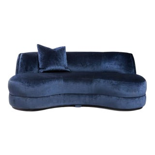 Vintage Ink Blue Velvet Princess Settee For Sale