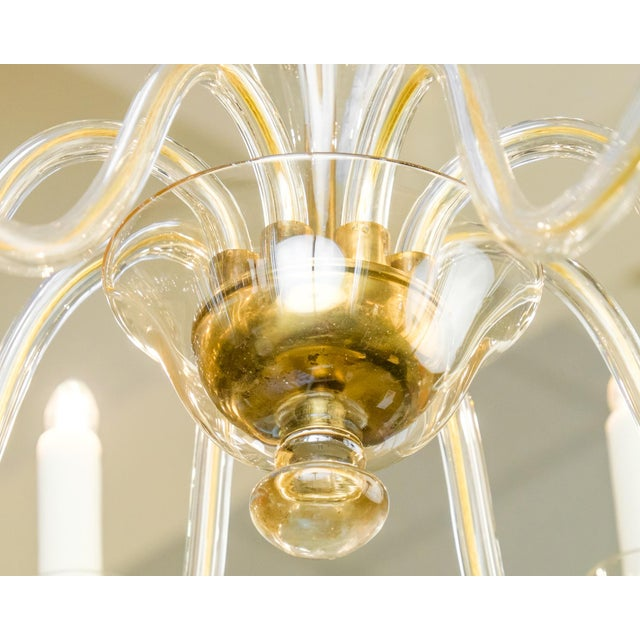Orange Murano Amber Glass Eight-Arm Chandelier For Sale - Image 8 of 11