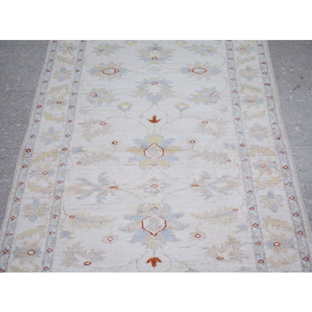 "Shabby Chic Vintage Turkish Anatolian Oushak Hand Knotted Organic Wool Fine Weave Rug,2'6""x11'2"" For Sale - Image 3 of 6"