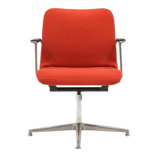 George Nelson Desk or Office Chair, Very Rare, New Red Boucle Knoll Upholstery For Sale