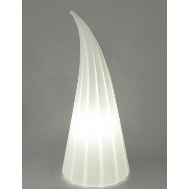Murano Glass White & Clear Striped Art Glass Lamp For Sale - Image 4 of 6