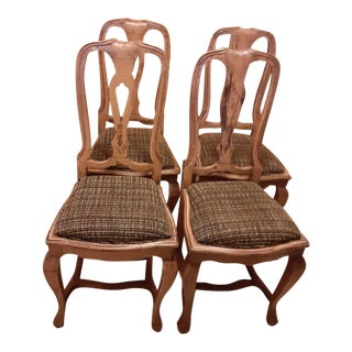 French Provincial Elm Wood Dining Chairs With Chanel Style Boucle Seat - Set 4 For Sale