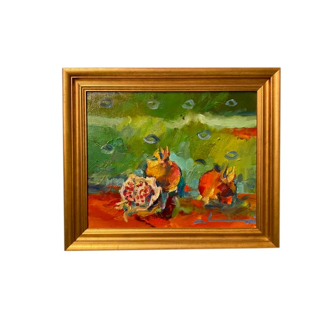 """Green French Impressionist Painting by Adrien Moroni, """"Fruits de Grenade"""" For Sale - Image 8 of 9"""