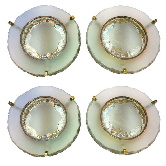 Max Ingrand for Saint Gobain set of two pairs of etched glass round sconces.