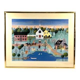Framed Print Easter Church Service Sunrise He's Risen Vtg Art Baptism Colleen Sgroi Americana For Sale