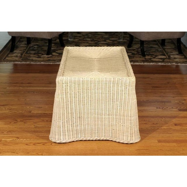 Gorgeous Vintage Glazed Drape Wicker Coffee Table For Sale - Image 4 of 8