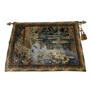 Monet-Style Watercolor Tapestry For Sale