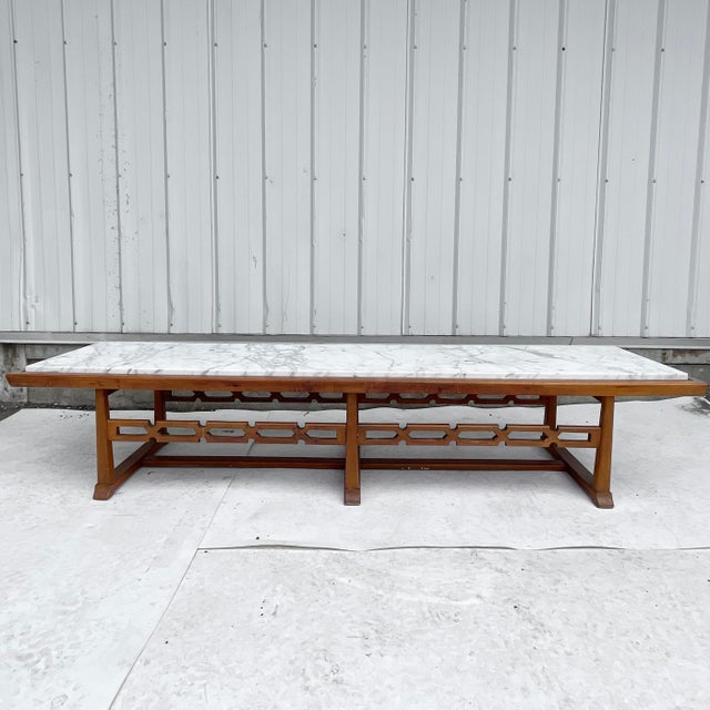 This stylish vintage modern coffee table makes an excellent centerpiece to any seating area, at 84 inches long this...