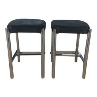 Charcoal Velvet & Chrome Counter Stools - Set of 2 For Sale