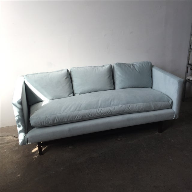 Mid-Century Rosewood Sofa in Mint Microsuede - Image 3 of 10