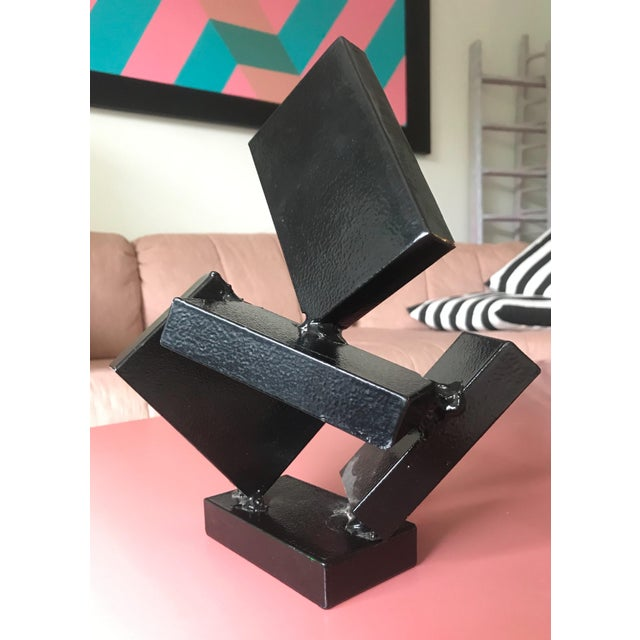 Vintage Modern Art Black Steel Abstract Sculpture For Sale In Portland, OR - Image 6 of 6