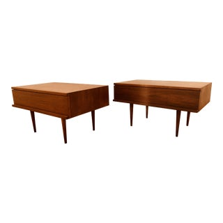 A Pair of Mid Century Walnut End Tables