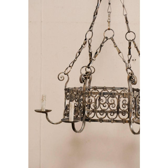 Metal French Midcentury Six-Light Iron Chandelier With Lovely Scrolling Pattern For Sale - Image 7 of 11