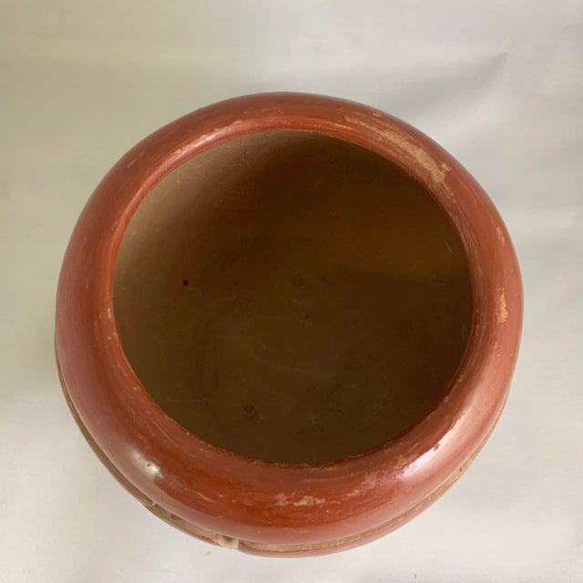 Terra Cotta Southwest Mida Tafoya Redware Jar With Carved Avanyu Design For Sale - Image 8 of 13