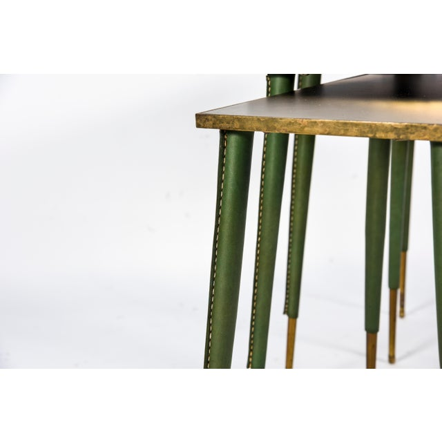 1950s Rare Stitched Leather Nesting Tables by Jacques Adnet - Set of 3 For Sale - Image 5 of 9