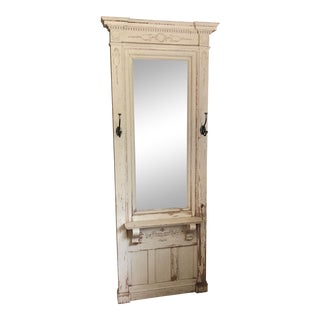 Early 20th Century Antique Wood Floor Mirror For Sale