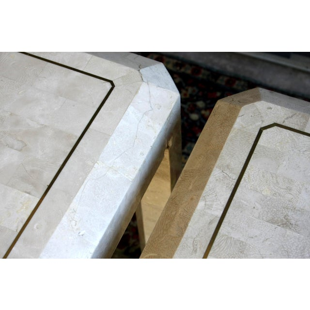 Gold Maitland Smith Tessellated Marble Tables, a Pair For Sale - Image 8 of 13