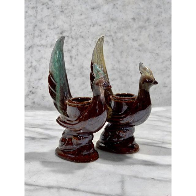 Art Deco Vintage Art Deco Porcelain Majolica Peacock Bird Candlestick Holdeders - a Pair For Sale - Image 3 of 10