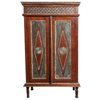 Early 20th Century Two-Door Painted Teak Javanese Cabinet with Diamond Patterns For Sale