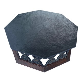 Vintage Octagonal Slate Top Coffee Table For Sale