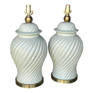 Vintage Paul Hanson Mint Green Ginger Jar Swirl Lamps-A Pair For Sale