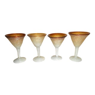Vintage Mid 20th C. Handmade Murano Pulegoso Drinkware-Four (4) Cocktail Glasses
