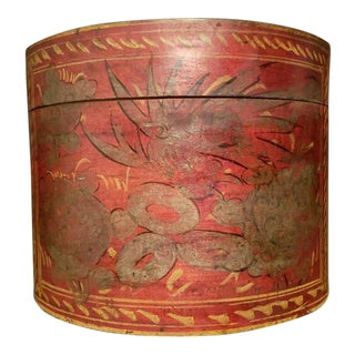 Late 19th Century Antique Shanxi Round Painted Hat Box For Sale