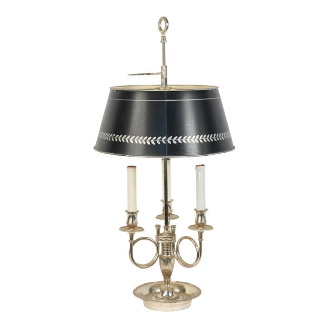 French Empire Silver Plate Table Lamp For Sale
