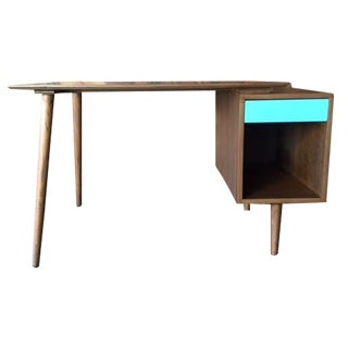 Mid-Century-Style Walnut Cubby Desk
