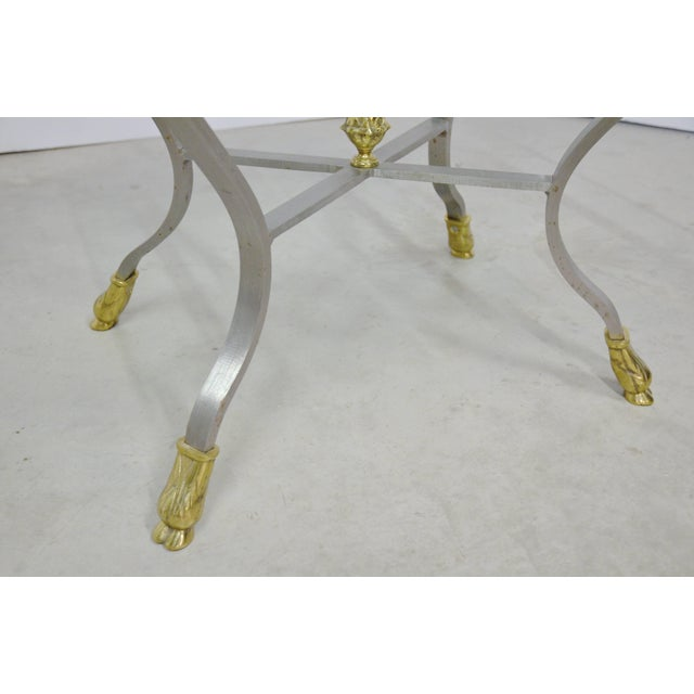 Gold Pair of Steel, Brass and Glass Side Tables For Sale - Image 8 of 11
