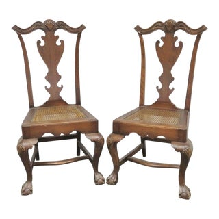Chippendale Carved Pine Side Chairs - a Pair For Sale
