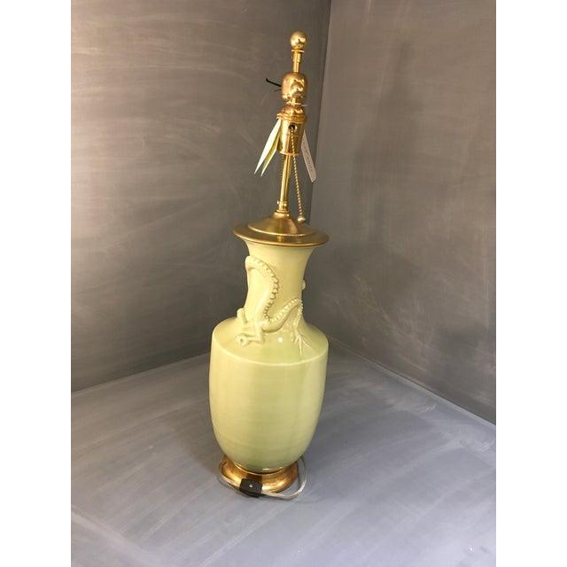 Christopher Spitzmiller Ming Dragon Motif Celadon Lamp - Image 5 of 10