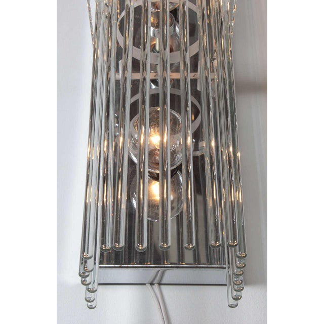 Metal Pair of Crystal Rod Sconces by Lightolier For Sale - Image 7 of 8