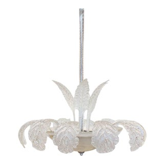 Mid-Century Murano Glass Palm & Leaf Frond Chandelier