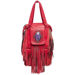 2008 Etro Runway Campaign Red Leather Fringe Shoulder Bag For Sale
