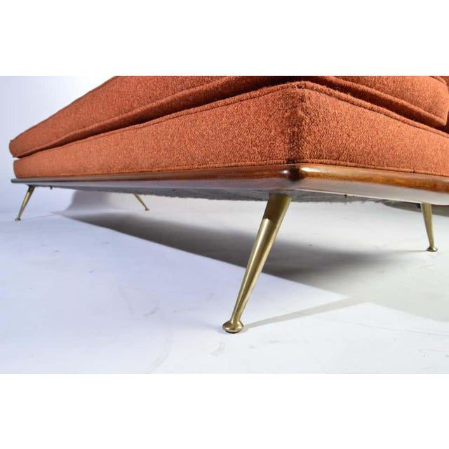 T.H. Robsjohn-Gibbings Sofa Model 1727 for Widdicomb having original orange tweed upholstery. Some fading to the...