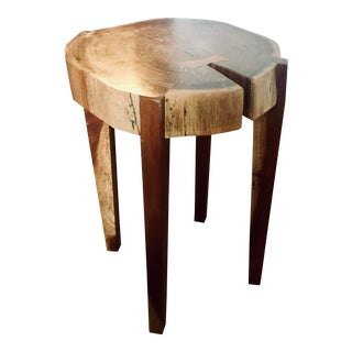 Mahogany Live Edge Bowtie End Table For Sale